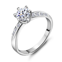 Wholesale Top Sale Exquisite Platinum Plated Lovers Ring With Austria Crystal J048