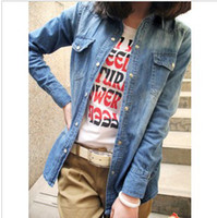 Wholesale European and American style retro washed gradient long sleeve casual denim shirt