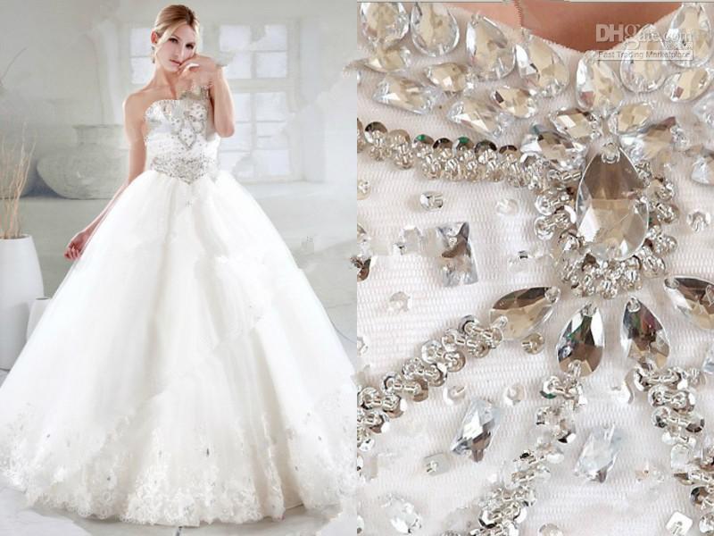 2016 Elegant Luxury Wedding Dresses Ball Gown Sweetheart Neckline ...