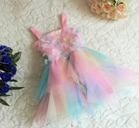Wholesale 2013 Girls Children s Day Dancing Dresses Suspender Flower Colorful Layer Yarn Dress TUTU Dress