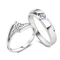 Wholesale Top Sale Exquisite Platinum Plated Lovers Ring With Austria Crystal J059