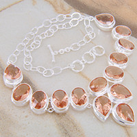 Morganite Easter 925 LN0425 Free Shipping 2013 High Quality Fashion necklace Morganite Silver Necklace Crystal Jewelry
