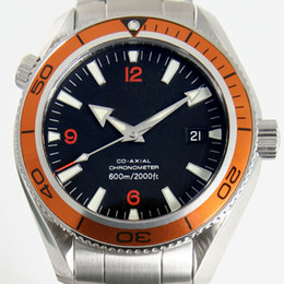 High quality Orange Bezel black Dial mens Mechanical watches Stainless Steel automatic Wristwatches