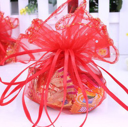 FreeShip 200pcs Red Pink 35cm Diameter Organza Round Dots Jewelry Bags Wedding Party Candy Gift Bags