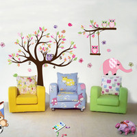 Wholesale funlife FUNLIFE exclusive Extra Big Colorful Animal forest Owl Kids room Mural Wall Sticker FL1002