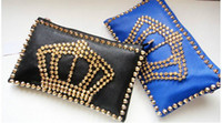Wholesale Rivets Evening Bags Clutch Bags Crown Black Blue Red pc F4