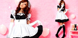 Wholesale Sexy Women s Cosplay Apron Dress ladys Lolita babydoll Sweet maid Girl Princess Lingerie Dress Headdress Aprons Gloves J1260