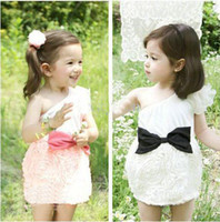 Wholesale Summer One shoulder Rose flower Party girl dress with big bowknot Baby princess dress