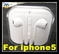 Wholesale White In Stock Earphone for Iphone Earbuds Headphone with MIC and Volume Control for iphone5