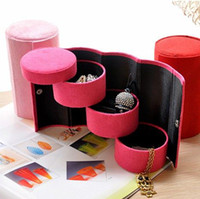 Wholesale Top Grade Three Layers Jewelry Boxes Jewellery Gift Box For Stud Earrings Necklace Bracelets Retail