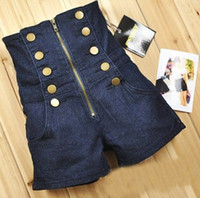 Wholesale Double Breasted Zipper High Waist Shorts Deep Blue jeans