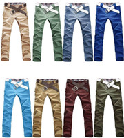 Wholesale 2016 Autumn Pants Top Men s Stylish Designed Straight Slim Fit Trousers Casual Pants Candies color