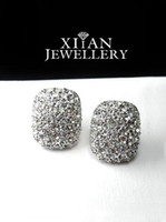 Wholesale Large Silver Plated Round Crystals stud Earrings cm X cm E582