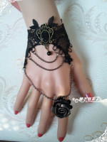 Cheap The female black roses black stones Gothic Lolita luxury the retro rose tassels wrist ribbons Ring L