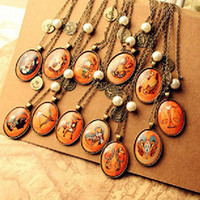 Wholesale Vintage cameo diamond Necklace The Zodiac Charms pendant twelve constellations cheap fashion jewelry