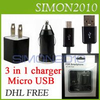 Wholesale 3 in Charger Kits Micro USB Sync Data Cable Car Charger US EU Wall Charger Adapter For Samsung HTC