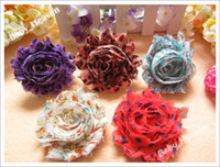 Flower Hair Bows Lace 120pcs Baby Girl Infant Hair Accessories Shabby Chiffon Ruffles Hair Flower for headband
