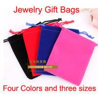 Wholesale Jewelry Pouches Bags velvet Bag for Rings necklace wedding Gif DIY roll squar Packaging Jewel Case