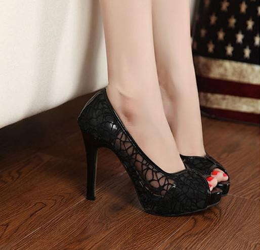 Women&39s High-heeled Shoes Waterproof Lace Bow Dazzling High Heels