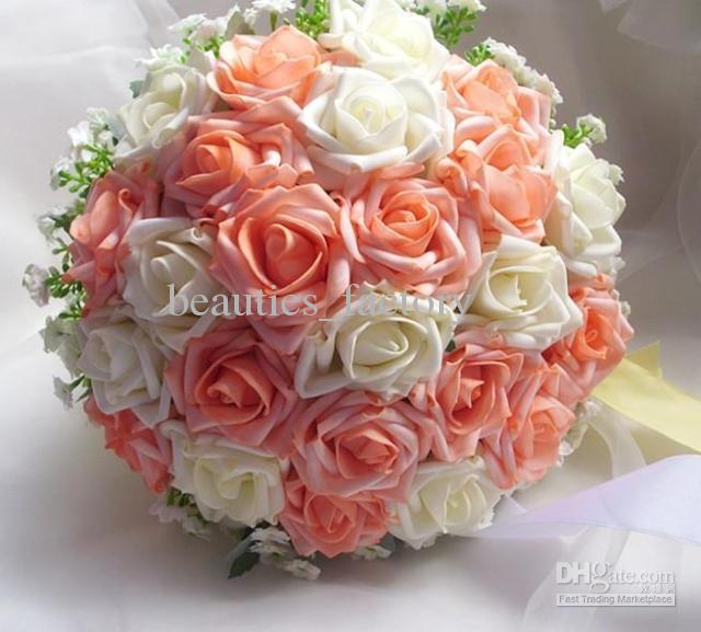 White Wedding Bouquets Online : Cm rose artificial cascading bridal bouquet white and