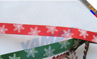 Wholesale hot quot mm green red Christmas snowflakes yards children Hair Bow DIY satin ribbons