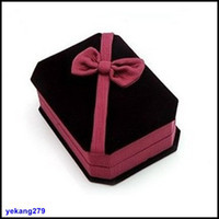 Wholesale Top Grade Bow Jewelry Boxes Jewellery Gift Box For Stud Earrings Necklace Rings Packaging Box