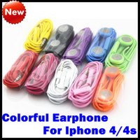 Wholesale Iphone Earphone Earpods Headset mm with Mic Color Colorful Earphones for iphone s gs Iphone s for Samsung S3 S4 Note HTC One