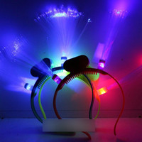 headwear devil horns - 150pcs Optic Head Bopper led devil horn led head band for Christmas Rainbow LED Flashing Fiber