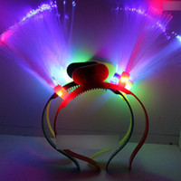 Wholesale Rainbow LED Flashing Fiber Optic Head Bopper led devil horn led head band for Christmas