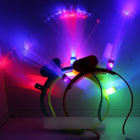 Wholesale Flashing Fiber Optic Head Bopper led devil horn led Rainbow LED head band for Christmas