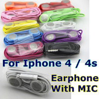 Wholesale Earphone Headphone for Iphone s Headset with MIC Colorful Earbuds for iphone4 Ipod Itouch MP3 MP4