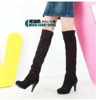 Wholesale Big size Women s Shoes Over the Knee Thigh Stretchy High Heels Boot Four Size Black Brown Sexy