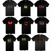 Wholesale Led Light Up And Down DJ Disco Dancing LED flash T Shirt panel Sound Activated M DJ Shape El light T shirt Panel