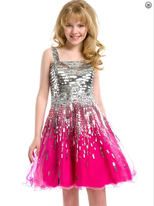 2013 A Line Spaghetti Shining Sequins Fuchsia Tulle Kids Party ...
