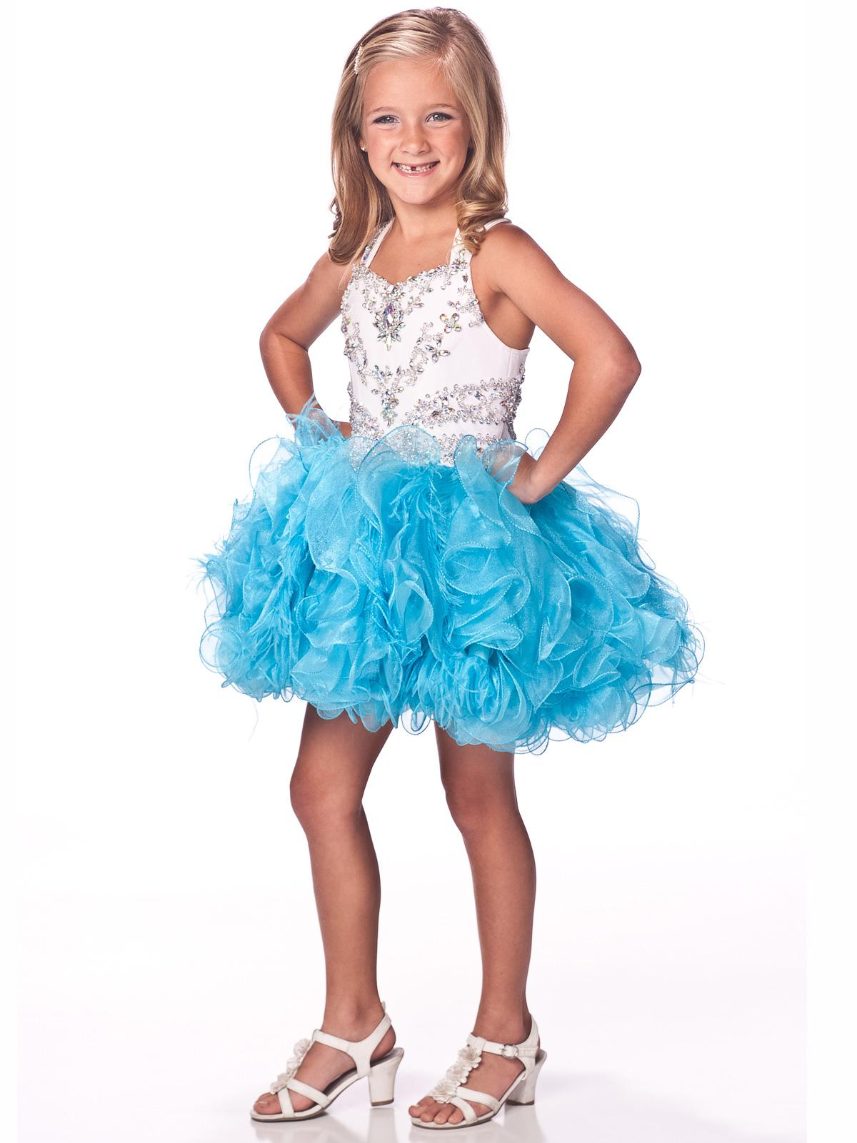 2013 Hot Sale Beading Crystal Kids Dresses Feather Organza Ball ...