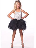 Wholesale 2013 White and Black Beads Crystal Kids Dresses Feather Organza Ball Gown Girl Pageant Dresses F462
