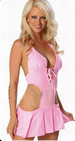 Satin Chemise Free Size Sales Promotion Sexy Lingerie Latex Underwear Babydoll & Chemise Lace Up Front Pleated Trim + Thong