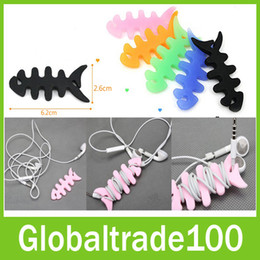 Wholesale Fish Bone Bobbin Winder Silicone For Earphone Calbe Rubber Wrap Wire Cord Holder Organizer Management Free DHL