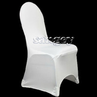 Wedding Chair Spandex / Polyester  Universal White Wedding Banquet Folding Polyester Spandex Hotel Quality Chair Covers Discount
