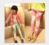 Girl Spring / Autumn 100% Cotton 2013 New Children's Leggings & Tights Girls retro flower Slim Fit pants feet cotton, AP26