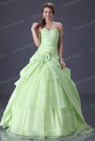 Wholesale Stock Garden Light Green Ball Gown Wedding Dresses Ruffle Flower Evening Prom Dress CL2517