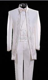 Custom-tailor White Groom Tuxedos Embroidery Groomsmen Men Wedding Suits(Jacket+Pants+Tie+Vest)H148