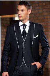 Custom-tailor Black Groom Tuxedos Notch Lapel Groomsmen Men Wedding Suits(Jacket+Pants+Tie+Vest)H150