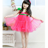 Wholesale hot pink girls one piece dress baby summer dress braces skirt outfits tutu ball gown D9