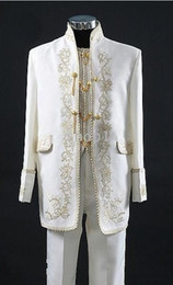 Custom Made New Style White Groom Tuxedos Embroidery Groomsmen Men's Wedding Suits(Jacket+Pants+Tie+Vest)H160