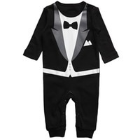 Wholesale Baby Boys romper kids children long sleeve Romper boy gentleman rompers