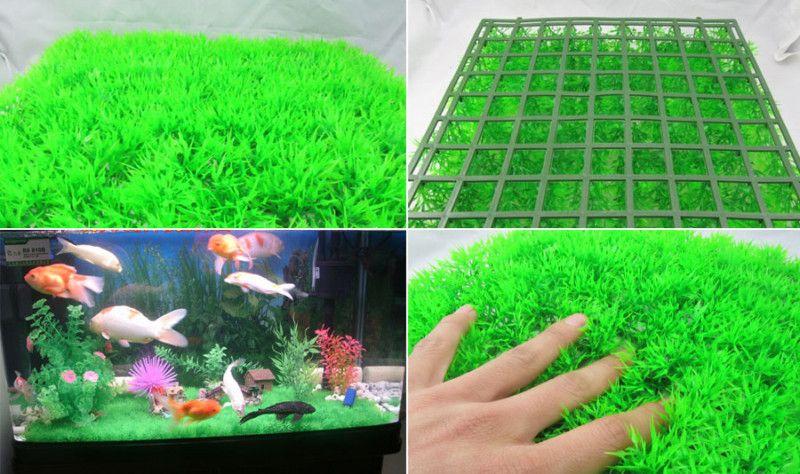 Plastic Grass Synthetic Lawn Mat Aquarium Ornament