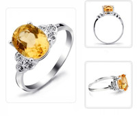 Cheap Gemstone Jewelry Natural Citrine 925 Sterling Silver Ring Women