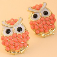 Wholesale WoW so cute assorted color beaded OWL women EAR STUD Studs Earring Top lovely beautiful ear stud