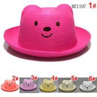 Wholesale Children Bear Straw Hat Baby Kids Straw Hat Mix Bear Styles Accessory Children Straw Hat Summer Cap